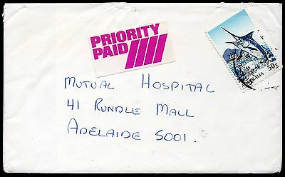 Australia 1980 commercial  Priority Paid cover with 50c Black Marlin: see below