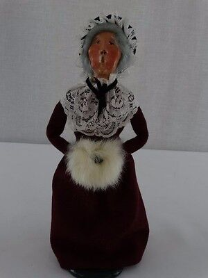 "1987 BYERS CHOICE Caroler - Grandmother with Burgundy Dress - 13"" Tall"