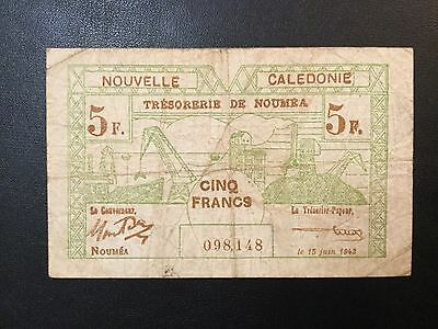 1943 New Caledonia Paper Money - 5 Francs Banknote !