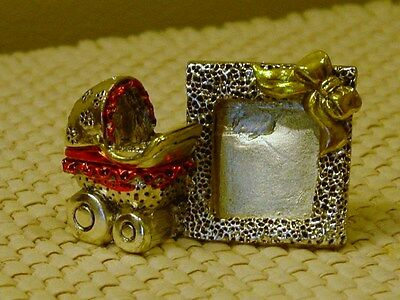 SILVER and RED CRYSTALS BABY CARRIAGE PICTURE FRAME ITALY