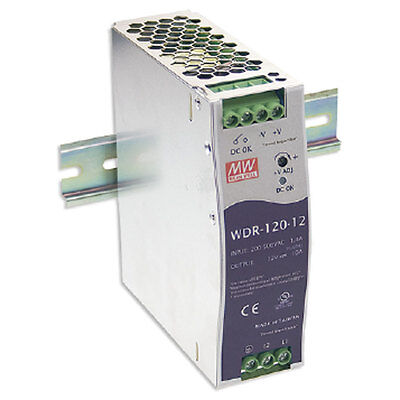 Mean Well WDR-120-12 Power Supply Switching Din Rail 120 Watt 12VDC@10A Ul Ce Cb
