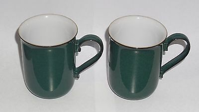 Denby Greenwich 2x Straight side Mugs with Saucers