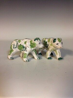 Pair French Faience Pottery HP Floral Bear Figurines