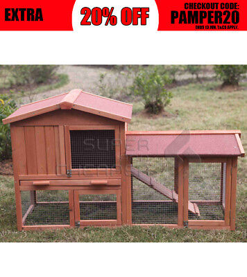 Large Wooden Chicken Hen Coop Rabbit Hutch Guinea Pig Ferret Cage with Run