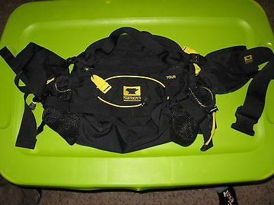 MOUNTAINSMITH Black/Yellow TOUR PACK Large Waist Fanny Bag Hiking Cycling Travel