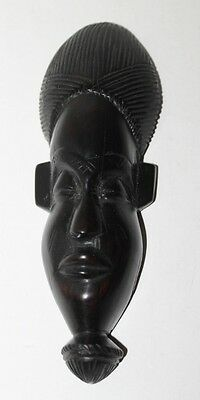 "Vintage African Hand Carved Ironwood Face Mask - Wall Hanging Decor - 7"" Tall"