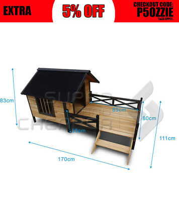Extra Large Pet Dog Kennel Timber House Wooden Cabin Wood Log Box Home Window