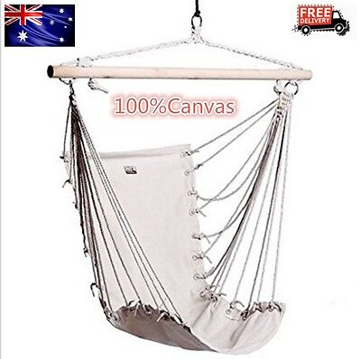 Hammock Chair Hanging Swing Outdoor Camping Indoor Garden White 100%Canvas AU