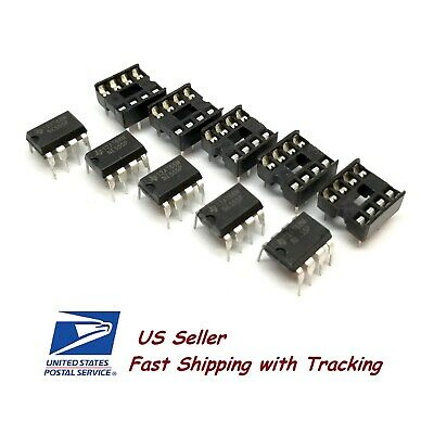 5 x NE555 IC 555 DIP-8 Timer with Sockets - USA Seller