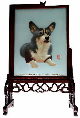 CHINESE Corgie Dog Suzhou Silk Embroidery Embroidered Framed Signed Rosewood