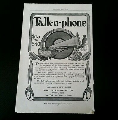 Antique Talk-o-phone Talking Machine Advertisements Early 1900's & Revolver Ad