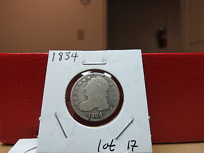 1834 Capped Bust Dime 10 cent Good Lot 17