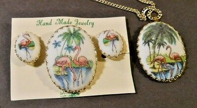 Vintage Flamingo Necklace Brooch Clip on Earrings Set Made Germany Gold