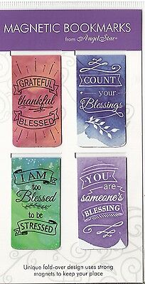 4 Small Inspirational Magnetic Bookmarks - Watercolor