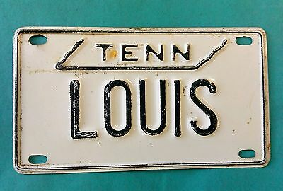 """Vintage 1970's TENNESSEE Mini License Plate - LOUIS - 4"""" by 2 1/4"""""""