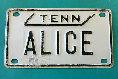 """Vintage 1970's TENNESSEE Mini License Plate - ALICE - 4"""" by 2 1/4"""""""