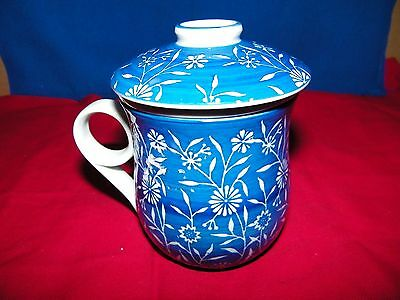 """Oriental 3 Piece Tea Cup Strainer, Lid, & Cup White/ Blue 5"""" Tall w/Gold Seal"""