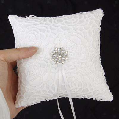 Wedding Ivory Satin Crystal Flower Ring Bearer Pillow Cushion 6""