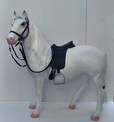 """Extra Large Plastic Horse in Dressage Tack. 20"""" model white toy horse"""