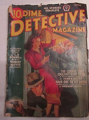 Dime Detective Pulp Magazine March 1942 Steve Midnight Cover