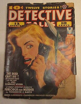 Detective Tales Pulp Magazine January 1943 Lt. Jim Blade Cover