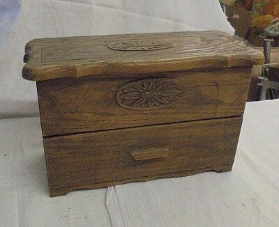 Vintage Retro Lerner FAUX WOOD Recipe Sewing Jewelry Desk File BOX w drawer