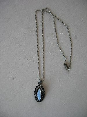 Vintage 1920s-30s Opaline Glass in Sterling Silver Pendant Necklace w/Chain