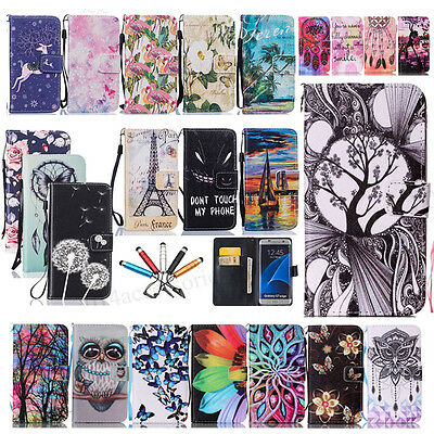 New Patterned PU Leather Flip Stand Magnetic Wallet Case Cover For Samsung Phone
