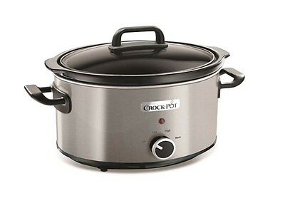 3.5L, Crock-Pot Slow Cooker, Stainless Steel with Removable Pot for Kitchenware