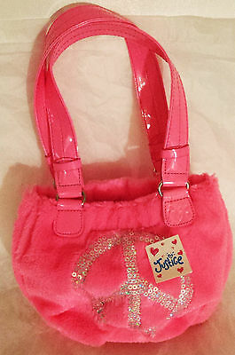 Girls Neon Pink Faux Fur Bag `Silver Sequin `Peace Sign Justice Handbag NEW