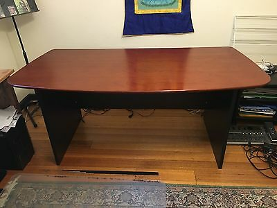 Office desk large wooden Mahogany stained and polished.