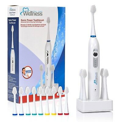 Wellness Oral Care Sonic Power Rechargeable Toothbrush with 10 Replacement Brush