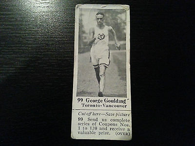 1925 Dominion Chocolate #99 GEORGE GOULDING Vintage Olympic Record Card