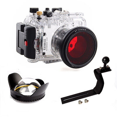 Underwater Housing Diving Case For Sony RX100 III Red filter Arm Wide Angel Dome