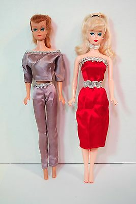 VINTAGE SLEEK SEXY SATIN LOT HANDMADE Repro Barbie CLONE SEARS ? DRESS 2 PIECE