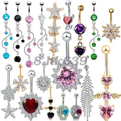 Crystal Surgical Steel Dangle Navel Belly Button Ring Bar Body Piercing Jewelry