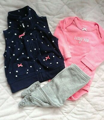 Baby girl clothes 3 months 3 pc outfit set fleece vest neon pink love