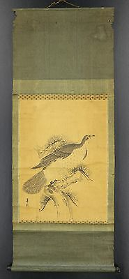 "JAPANESE HANGING SCROLL ART Painting ""Eagle""  Asian antique  #E3386"