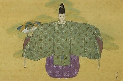 "JAPANESE HANGING SCROLL ART Painting ""Noh actor"" Asian antique  #E3353"