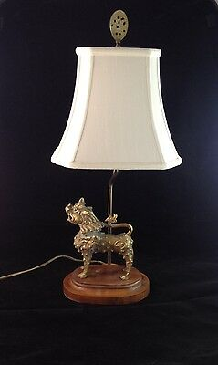 Vintage Table Lamp Chinese Brass Foo Dog Temple Guardian Lion With Armor