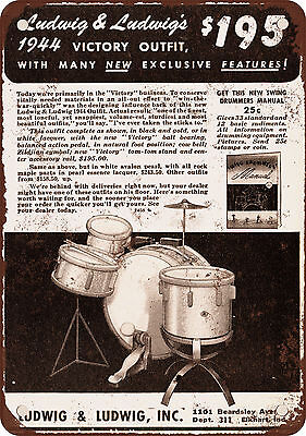 """1944 Ludwig Drums 10"""" x 7"""" Reproduction Metal Sign"""
