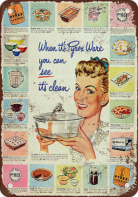 """1948 Pyrex Ware Kitchen Glassware 10"""" x 7"""" Reproduction Metal Sign"""