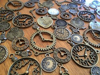1-100 vintage bronze clock watch steampunk grunge scrap booking card craft charm