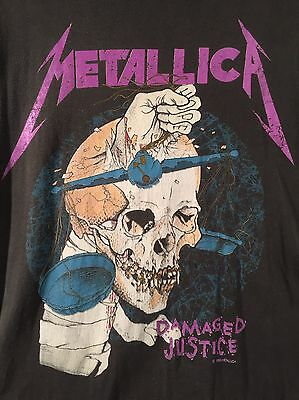 Vintage Metallica T-Shirt 1988 Damaged Justice Pushead And For All Medium Large