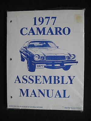 1977 Camaro Assembly Manual General Motors Licensed Chevrolet Parts Book Chevy