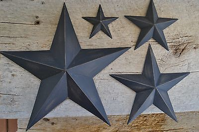 "Set of 4 ~ 12""  8""  5.5"" / 3.5""  BLACK BARN STAR Metal Primitive Country"