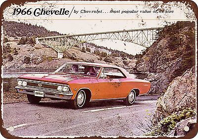 """1966 Chevrolet Chevelle 10"""" x 7"""" Reproduction Metal Sign"""