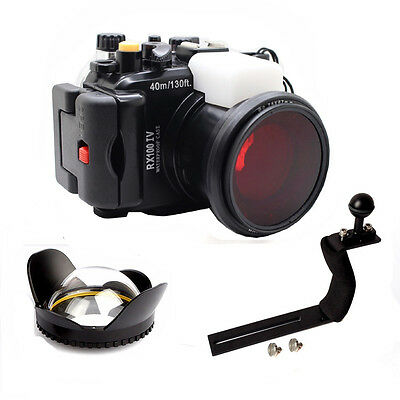 Underwater Housing Diving Case For Sony RX100 IV Red filter Arm Wide Angel Dome