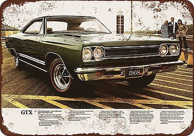 """1968 Plymouth GTX 10"""" x 7"""" Reproduction Metal Sign"""