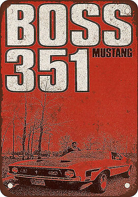 """1971 Ford Mustang Boss 351 10"""" x 7"""" Reproduction Metal Sign"""